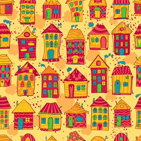 Seamless pattern colorful houses in cartoon style Vector