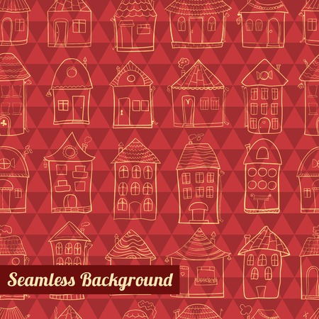 Seamless pattern outline cute houses on geometric background Vector