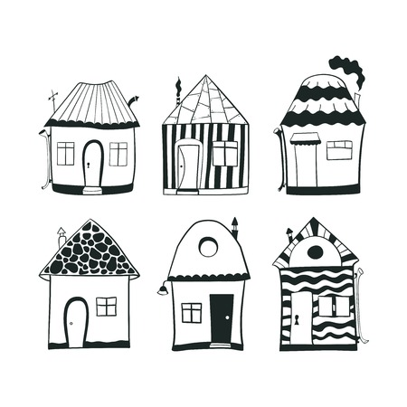 Set sketch black and white outline doodle houses in cartoon style Vector