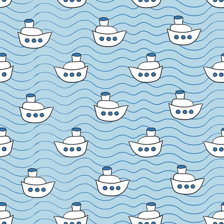 ocean background: Summer vector seamless pattern with ship images blue ocean background in doodle style Illustration