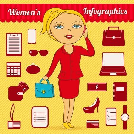 Business woman infographic set in colorful bright cartoon style Vector