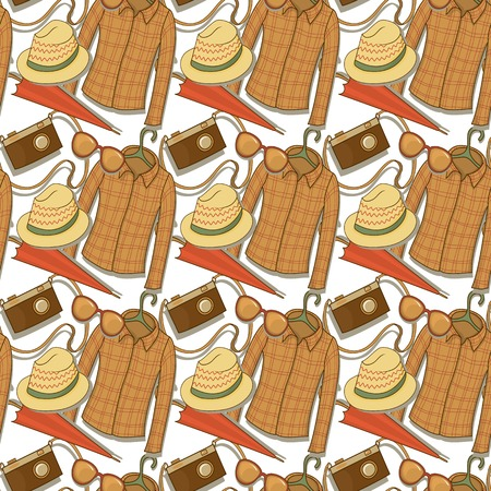 Seamless vector pattern with elements of the hipster elements Vector