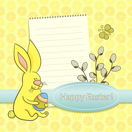 Easter vector set with  cute rabbit and space for text Vector