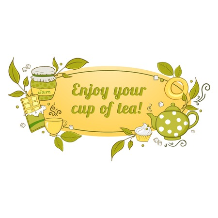 Tea and sweets label with the wish bon appetit in doodle style Vector
