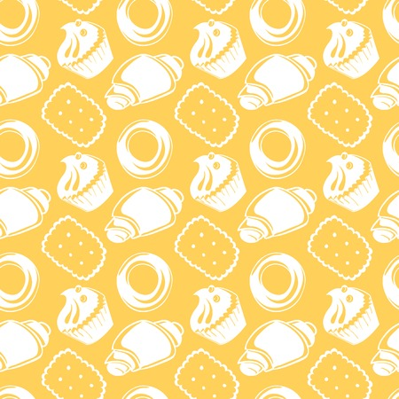 Seamless pattern outline delicious pastries, croissants, biscuits, two-color food background Vector
