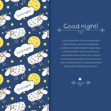 space for images: Vector border with images cute sheep on background night sky with moon and wish good night and space for text