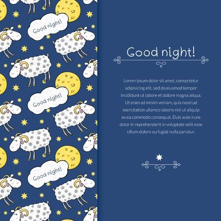 good night: Vector frontera con im�genes de ovejas lindo sobre fondo de cielo nocturno con la luna y el deseo buenas noches y el espacio para el texto