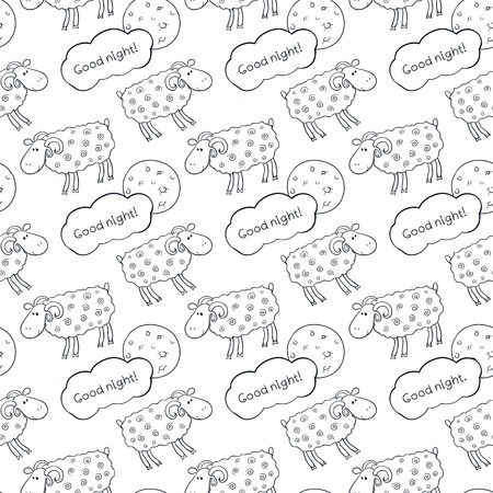 Black and white seamless vector pattern with images cute sheep on background night sky with moon and wish good night Vector