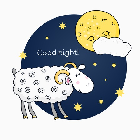 Vector print with images cute sheep on background night sky with moon and wish good night and wish good night Ilustrace