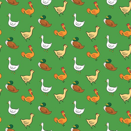 Funny seamless pattern with geese, ducks, cocks, chickens on green background, farm animals seamless pattern Vector