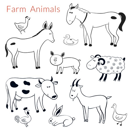 Set of vector different farm animals in cartoon style, black-white illustration Vector