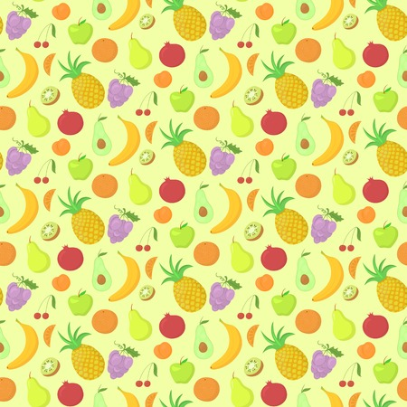 abundance: Fruit seamless pattern, vector background with great abundance of bright colorful fruit, perfect for kitchen wallpaper, wrapping paper, textiles Illustration
