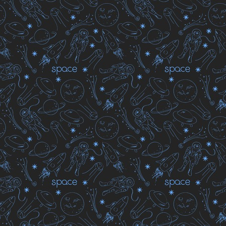 weightlessness: Space vector seamless pattern with line drawing doodle objects on dark background