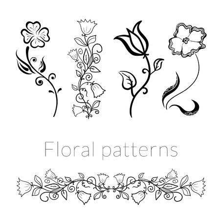 Collection vector stylish black white flowers, drawn in ink