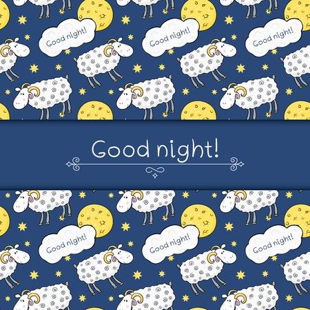 nochebuena: Modelo incons�til del vector con im�genes ovejas lindo en el fondo del cielo nocturno con la luna y el deseo buenas noches