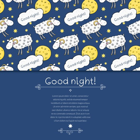 cute sheep: Seamless vector pattern with images cute sheep on background night sky with moon and wish good night