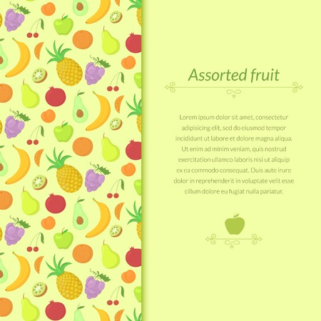 abundance: Fruit background with great abundance of bright colorful fruit, with place for text Illustration