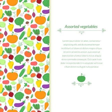 Vegetables background with great abundance of bright colorful vegetables Vector
