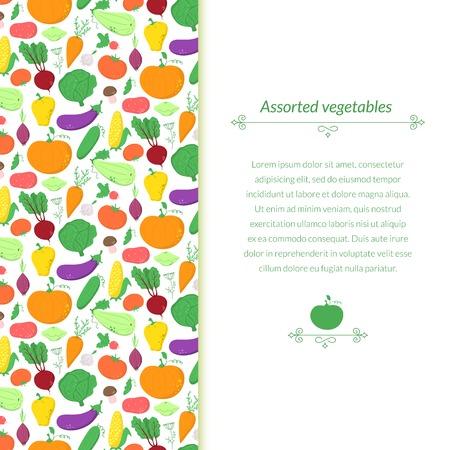 abundance: Vegetables background with great abundance of bright colorful vegetables Illustration