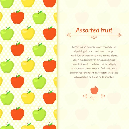 Color pattern with green, yellow and red apples on polka dot background with place for text Vector