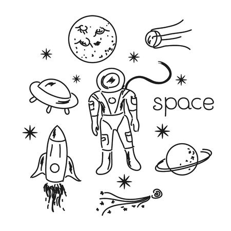 echnology: Space vector black and white objects line drawing