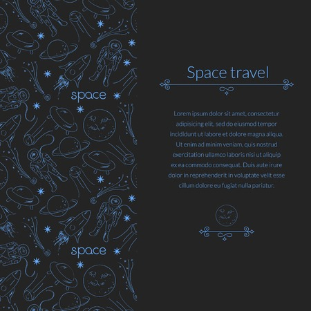 echnology: Space vector dark background for template card with place for text Illustration