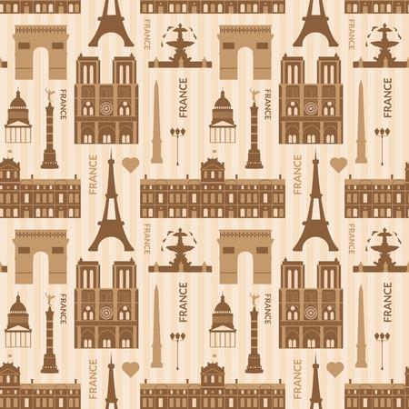 Landmarks of Paris, vector monochrome cartoon seamless pattern Vector