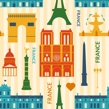Landmarks of France, vector colorful cartoon seamless pattern in flat style Vector