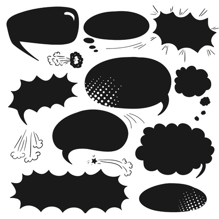 Set of graphic comics speech bubbles, vector templates clouds for text, black on white background Vector