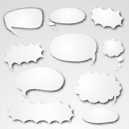 dialog balloon: Set of empty graphic comics speech bubbles, vector templates clouds for text, trendy paper design with shadows halftone,