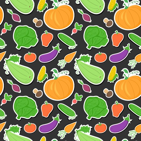 abundance: Vegetables seamless pattern, vector dark background with great abundance of bright colorful vegetables, perfect for kitchen wallpaper, wrapping paper, textiles