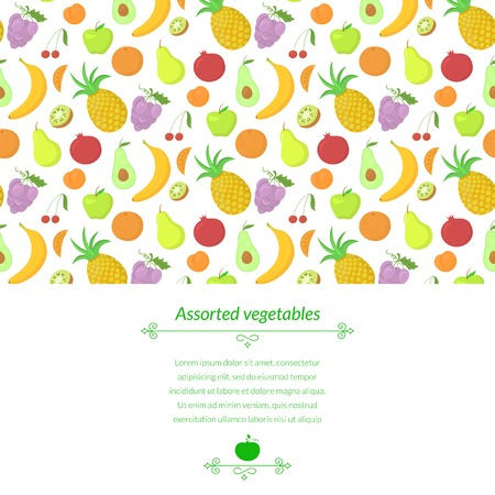abundance: Fruit vector background with great abundance of bright colorful vegetables, with place for text Illustration
