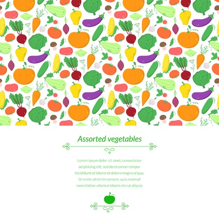 Vegetables vector background with great abundance of bright colorful vegetables, with place for text Vector