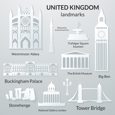 Landmarks of United Kingdom, vector 3D paper design icon set Vector