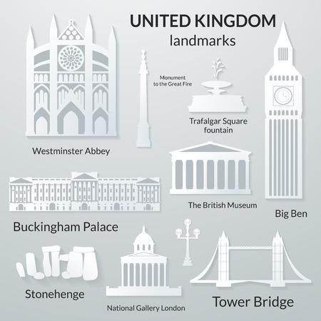 Landmarks of United Kingdom, vector 3D paper design icon set Illustration