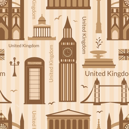 Seamless pattern with landmarks of United Kingdom, vector colorful cartoon flat objects Vector