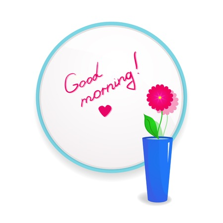 glued: Inscription lipstick to wish good morning glued to mirror in the bathroom with flower in vase to the fore, a beautiful vector illustration of uplifting
