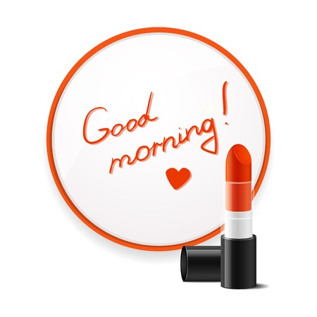 glued: Inscription lipstick to wish good morning glued to mirror in the bathroom, a beautiful vector illustration of uplifting