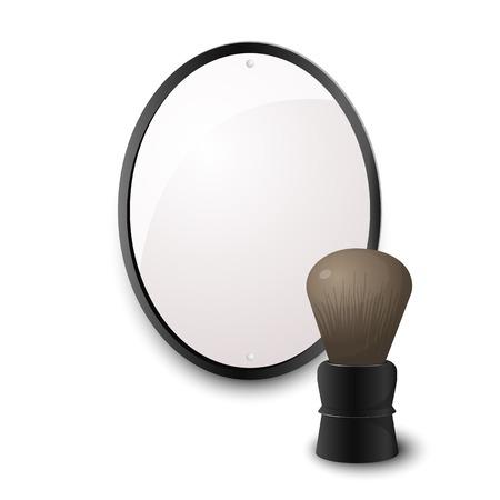 shaving brush: Accessories for shaving, shaving brush with a large mirror in metal frame, men vector illustration
