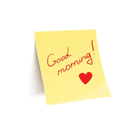 glued: Note to wish good morning glued to wall, beautiful vector illustration of uplifting