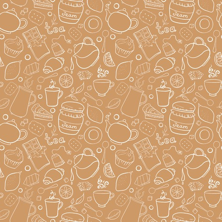 Tea and sweets vector seamless pattern with outline object in doodle style, template for use as packaging, fabric, paper, background Vector