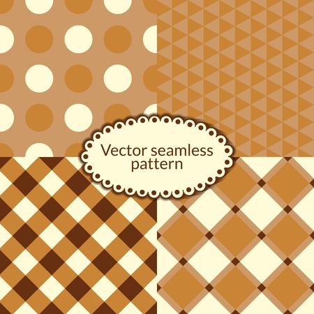 Set simple vector seamless pattern, four geometric textures Vector