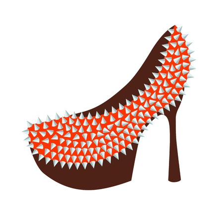 bdsm: Womens fashion high-heeled shoes red decorated with studs, vector illustration Illustration