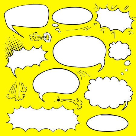 Set of empty graphic comics speech bubbles, vector templates clouds for text, white with black stroke on yellow background Vettoriali