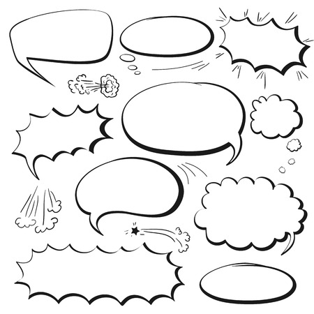 thought clouds: Set of empty graphic black and white comics speech bubbles, vector templates for your text