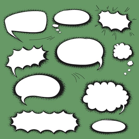 Set of empty graphic black and white comics speech bubbles, vector templates for your text with shadow halftone on green background Vector
