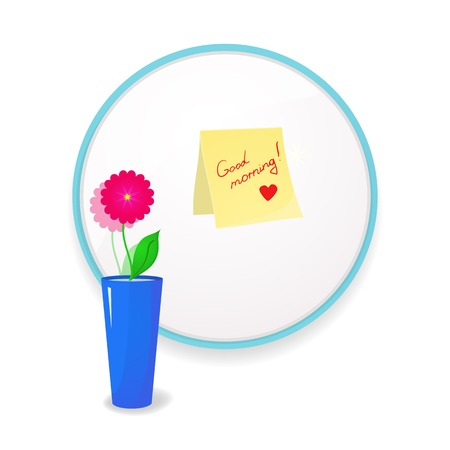 glued: Note to wish good morning glued to mirror in the bathroom with flower in vase to the fore, a beautiful vector illustration of  uplifting Illustration