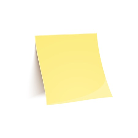 Vector yellow stick note isolated on white background in realistic style Vector
