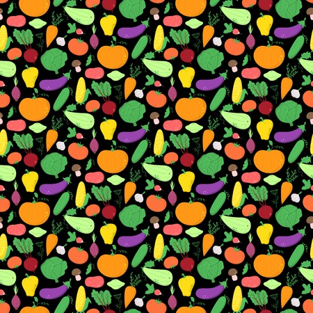 abundance: Vegetables seamless pattern, vector background with great abundance of bright colorful vegetables, perfect for kitchen wallpaper, wrapping paper, textiles