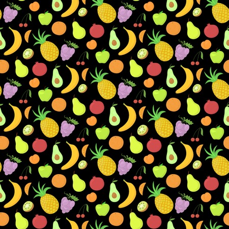 Fruit seamless pattern, vector background with great abundance of bright colorful fruit, perfect for kitchen wallpaper, wrapping paper, textiles Vector